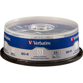Verbatim - M-Disc 4x 25GB BD-R Discs Spindle with Branded Surface (25-Pack)