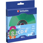 Verbatim - CD-R 700MB 52X with Color Branded Surface (10-pack) - Blue/Green/Purple/Orange/Pink