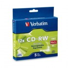 Verbatim - 95157 CD Rewritable Media - CD-RW - 12x - 700 MB - 5 Pack Slim Case