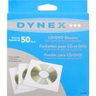 Dynex - 50-Pack CD/DVD Sleeves - White