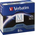 Verbatim - 4x M-Disc DVD-R Discs (5-Pack) - Black/Blue